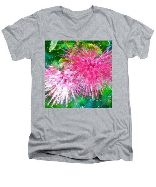 Soft Pink Flower Men's V-Neck T-Shirt