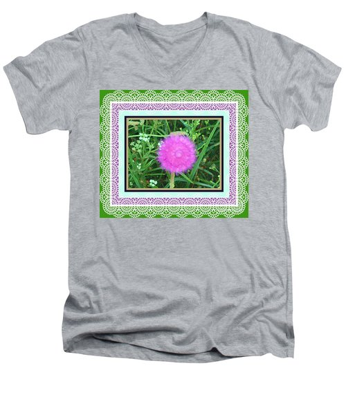 Soft Pink Thistle Men's V-Neck T-Shirt