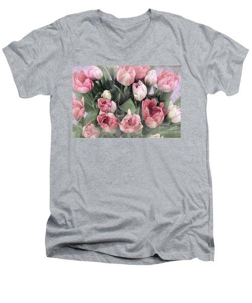 Soft Pink Tulips Men's V-Neck T-Shirt