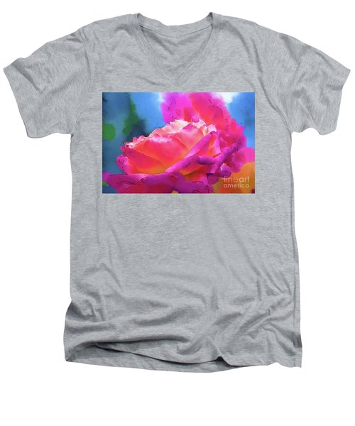 Soft Rose Bloom In Red And Purple Men's V-Neck T-Shirt