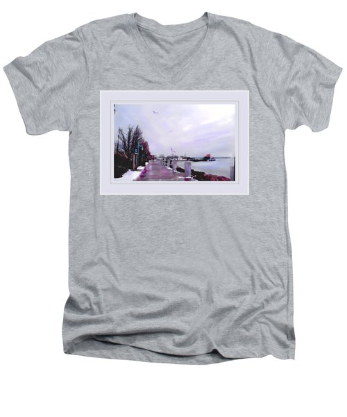 Soft Winter Day Men's V-Neck T-Shirt by Felipe Adan Lerma