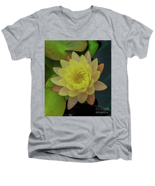 Softly Pink And Yellow Lilly Men's V-Neck T-Shirt