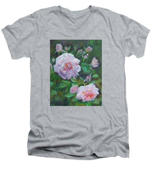 Men's V-Neck T-Shirt featuring the painting Softly Pink Roses by Karen Kennedy Chatham