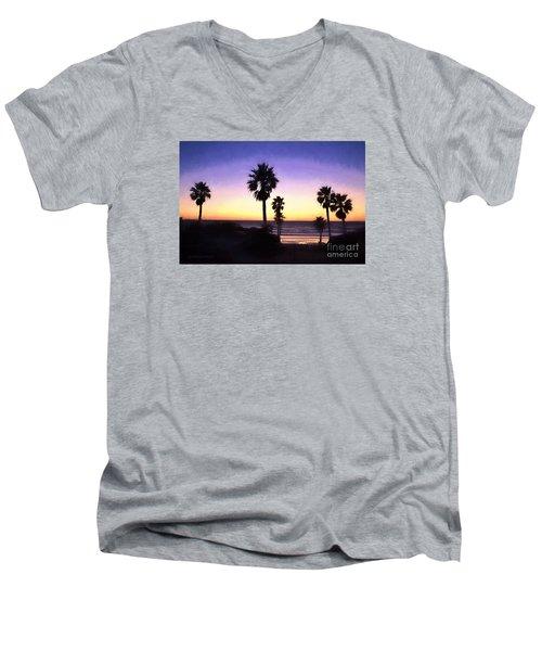 Solana Beach Sunset - Digital Painting Men's V-Neck T-Shirt by Sharon Soberon