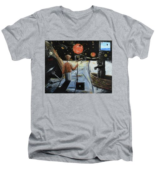 Men's V-Neck T-Shirt featuring the painting Solar Broadcast -transition- by Ryan Demaree