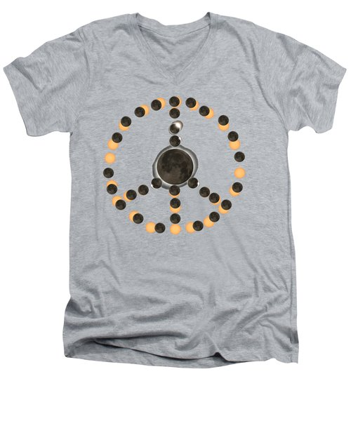 Solar Eclipse Peace On Earth Men's V-Neck T-Shirt