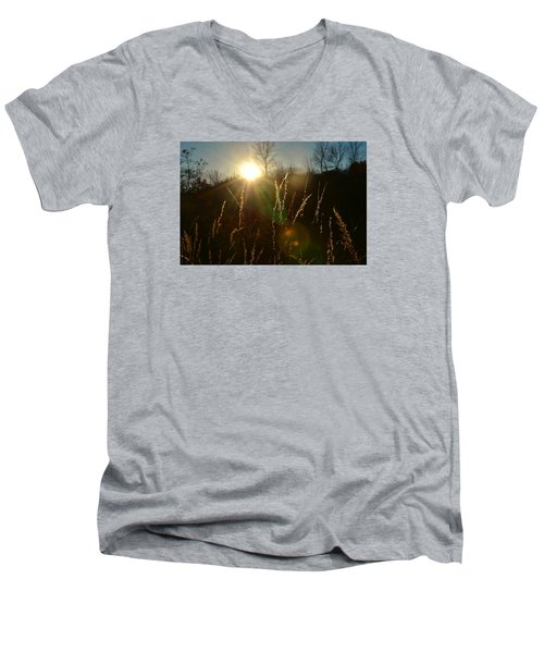 Men's V-Neck T-Shirt featuring the photograph Solar Flares by Nikki McInnes