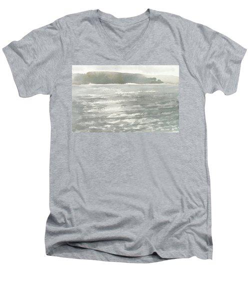 Soldis Over Glittrande Fjord - Sunlit Haze Over Glittering Water_0023 76x48cm Men's V-Neck T-Shirt