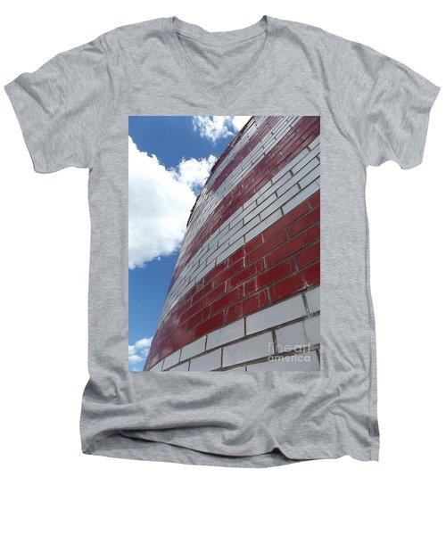 Solid Flag Blue Sky Men's V-Neck T-Shirt