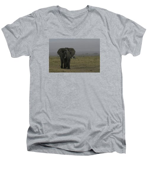 Men's V-Neck T-Shirt featuring the photograph Solitary Bull Elephant by Gary Hall