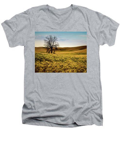 Solitary Tree Men's V-Neck T-Shirt by Chris McKenna