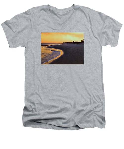 Men's V-Neck T-Shirt featuring the photograph Solitary Walker by Laura Ragland