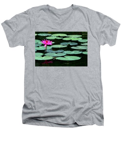 Men's V-Neck T-Shirt featuring the photograph Solitary Water Lily by Laurel Talabere