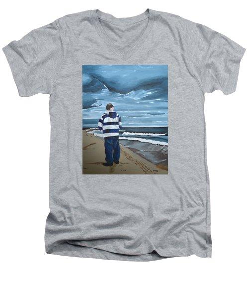 Solitude Men's V-Neck T-Shirt by Donna Blossom