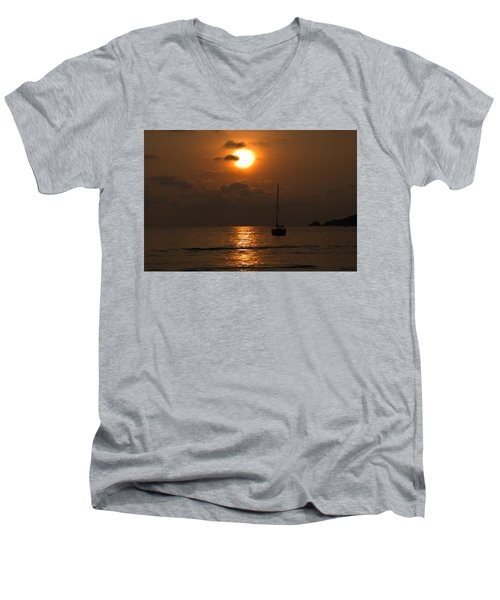 Men's V-Neck T-Shirt featuring the photograph Solitude by Jim Walls PhotoArtist