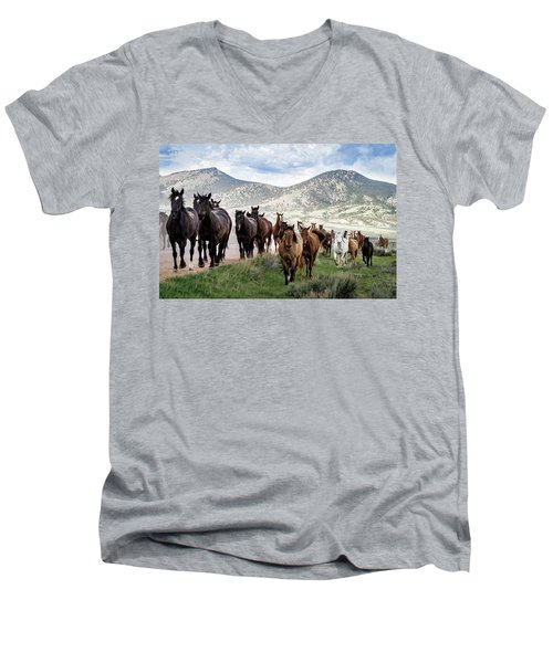 Sombrero Ranch Horse Drive, An Annual Event In Maybell, Colorado Men's V-Neck T-Shirt