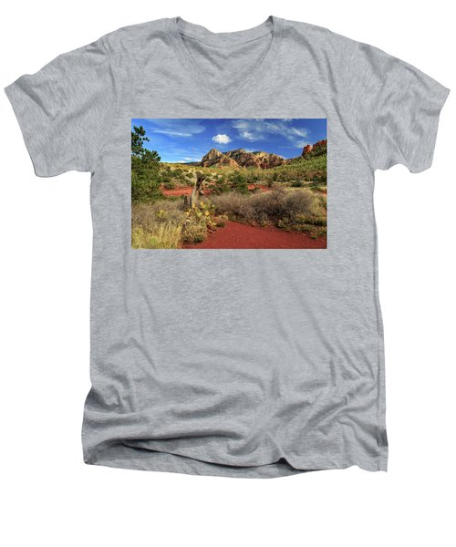Men's V-Neck T-Shirt featuring the photograph Some Cactus In Sedona by James Eddy