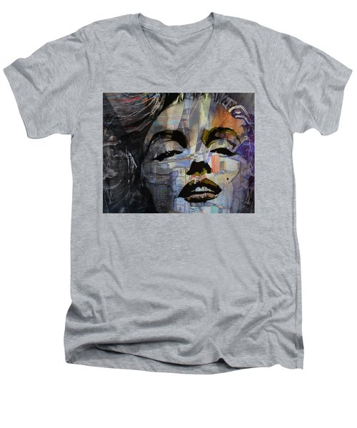 Men's V-Neck T-Shirt featuring the painting Some Like It Hot Retro by Paul Lovering