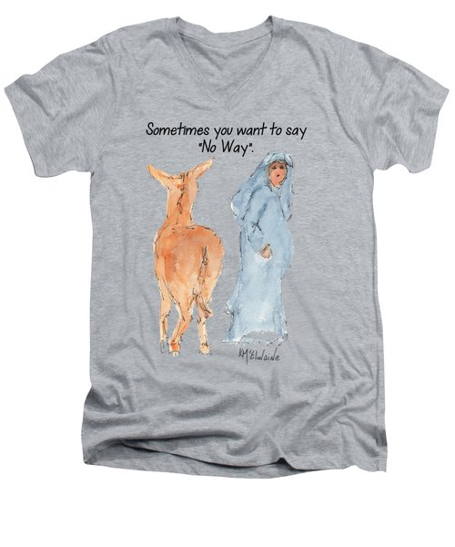 Sometimes You Want To Say No Way Christian Watercolor Painting By Kmcelwaine Men's V-Neck T-Shirt