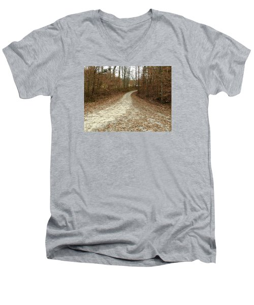 Somewhere Down The Road Men's V-Neck T-Shirt by Russell Keating