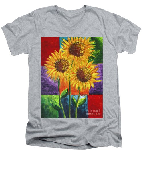 Sonflowers I Men's V-Neck T-Shirt by Holly Carmichael
