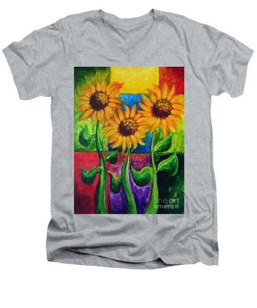 Men's V-Neck T-Shirt featuring the painting Sonflowers II by Holly Carmichael