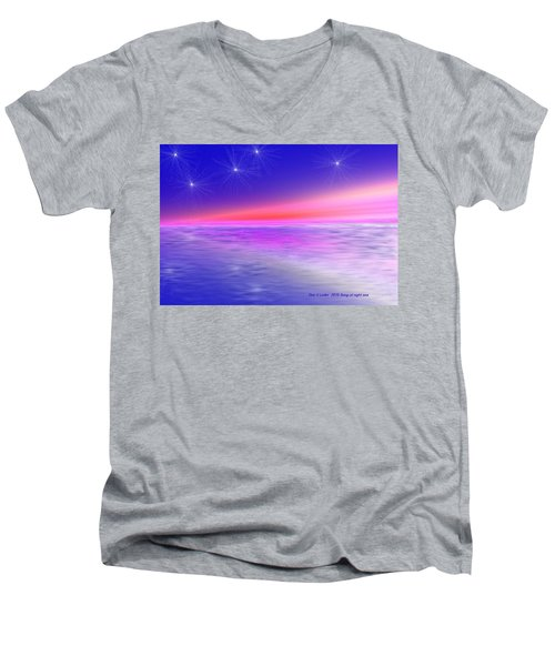 Men's V-Neck T-Shirt featuring the digital art Song Of Night Sea by Dr Loifer Vladimir