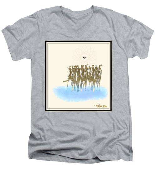 Men's V-Neck T-Shirt featuring the digital art Women Chanting - Song Of The Sirens by Larry Talley
