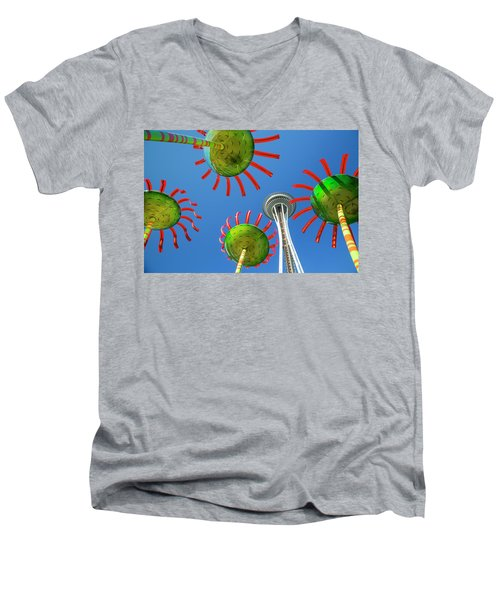 Men's V-Neck T-Shirt featuring the photograph Sonic Bloom In Seattle Center by Adam Romanowicz