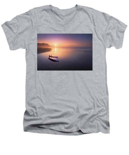 Sopelana Beach With Surfboards On The Shore Men's V-Neck T-Shirt