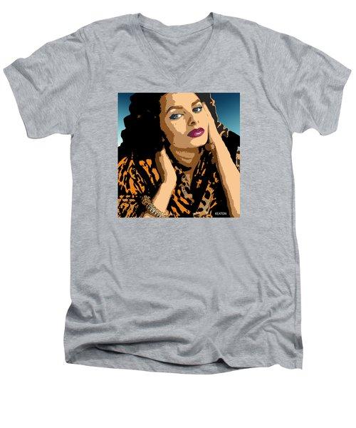 Men's V-Neck T-Shirt featuring the digital art Sophia by John Keaton