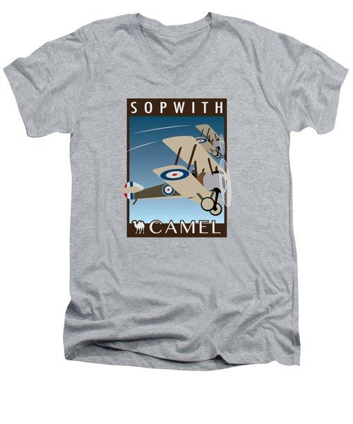 Sopwith Camel - Art Deco Print Men's V-Neck T-Shirt