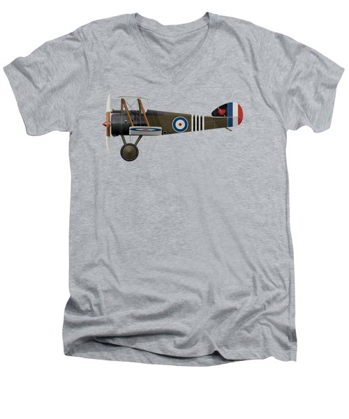 Sopwith Camel - B6313 June 1918 - Side Profile View Men's V-Neck T-Shirt by Ed Jackson
