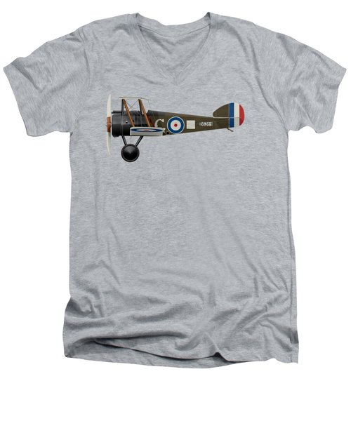 Sopwith Camel - B6344 - Side Profile View Men's V-Neck T-Shirt by Ed Jackson