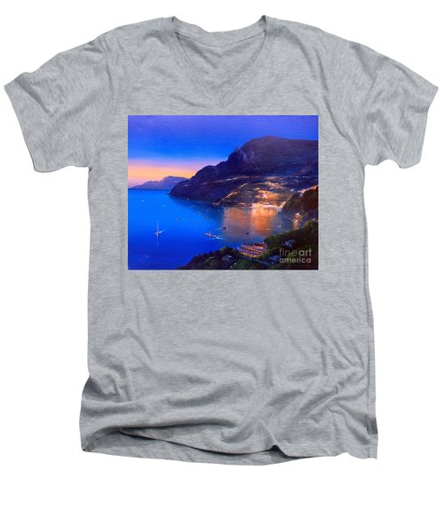 Men's V-Neck T-Shirt featuring the painting La Dolce Vita A Sorrento by Rosario Piazza