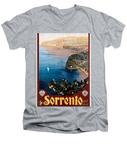Sorrento - Poster Men's V-Neck T-Shirt by Pg Reproductions