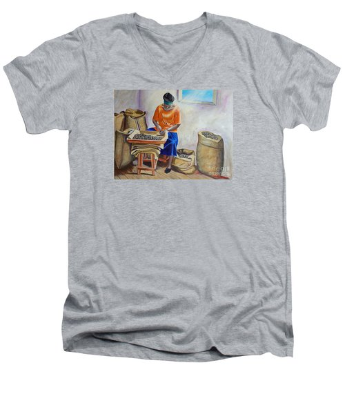 Sorting Nutmegs Men's V-Neck T-Shirt by Laura Forde