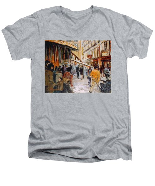 Men's V-Neck T-Shirt featuring the painting Souk De Buci by Walter Casaravilla