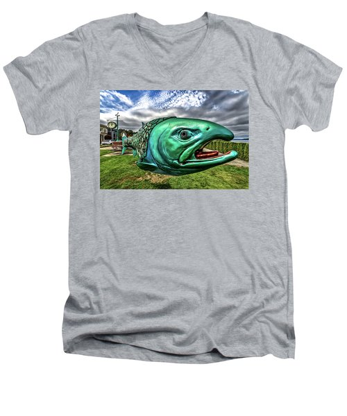 Soul Salmon In Hdr Men's V-Neck T-Shirt by Rob Green
