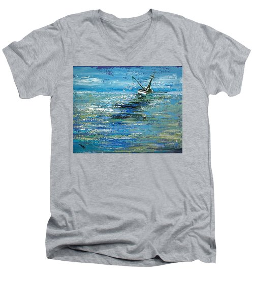 Men's V-Neck T-Shirt featuring the painting Soups On by Suzanne McKee