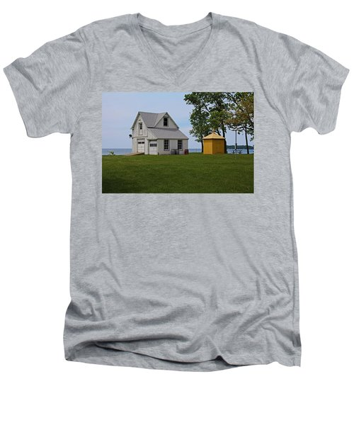 South Bass Island Lighthouse Barn And Oil Storage Building I Men's V-Neck T-Shirt by Michiale Schneider