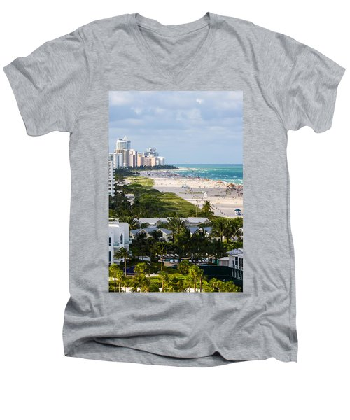 South Beach Late Afternoon Men's V-Neck T-Shirt by Ed Gleichman