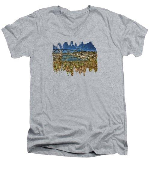 South Beach Marina Men's V-Neck T-Shirt by Thom Zehrfeld