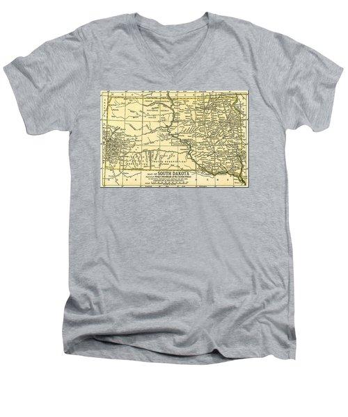 South Dakota Antique Map 1891 Men's V-Neck T-Shirt