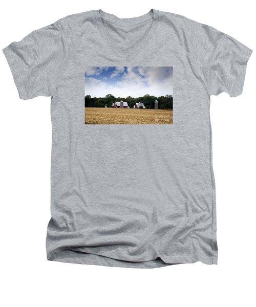 Men's V-Neck T-Shirt featuring the photograph South Dakota Barn by Yumi Johnson