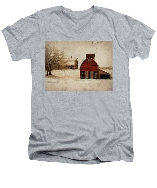 South Dakota Corn Crib Men's V-Neck T-Shirt by Julie Hamilton