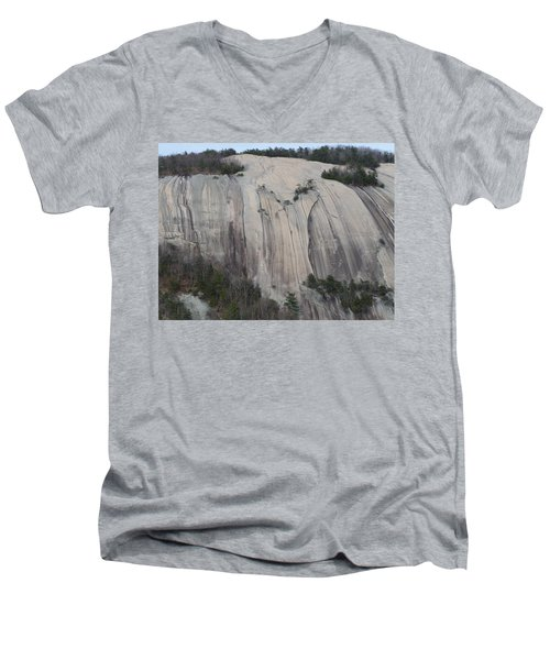Men's V-Neck T-Shirt featuring the photograph South Face - Stone Mountain by Joel Deutsch