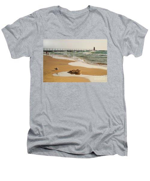 South Haven Lighthouse Men's V-Neck T-Shirt