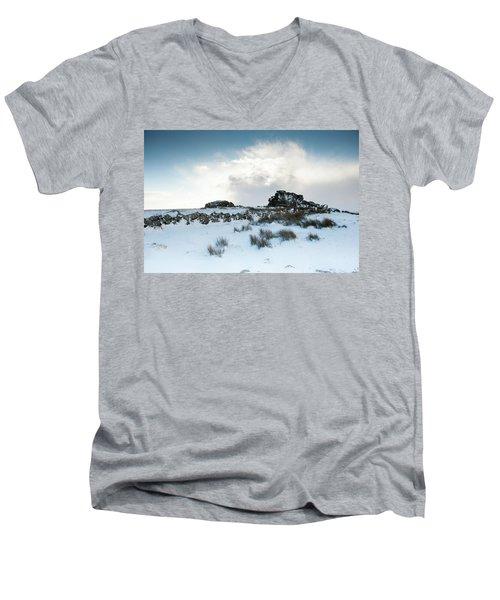 South Hessary Tor In The Snow II Men's V-Neck T-Shirt