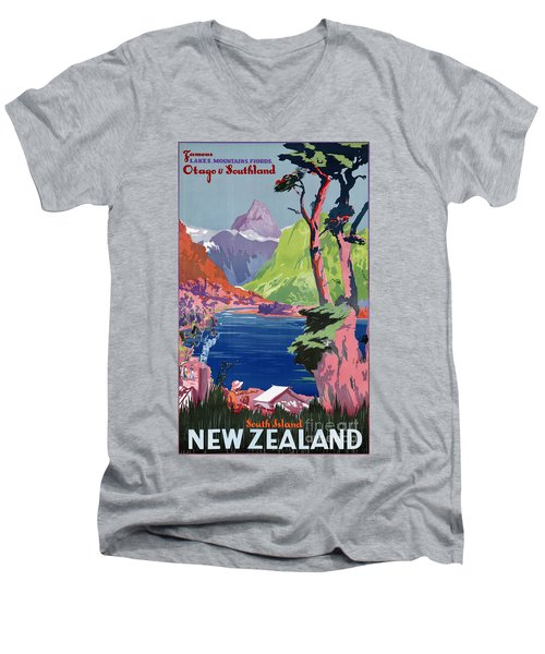 South Island New Zealand Vintage Poster Restored Men's V-Neck T-Shirt